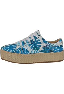 Tênis Flor D'Couro Em Tecido Floral Azul Faxetado Em Corda