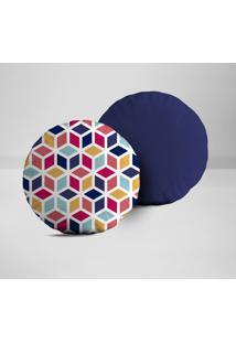 Kit 2 Almofadas Redondas Cubos Geométricos