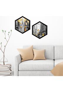 Kit 2 Quadros Com Moldura Hexagonal Paris And N.Y