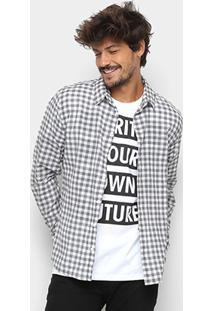 Camisa Xadrez Manga Longa Colcci Slim Masculina - Masculino-Preto+Branco