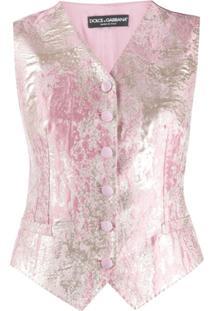 Dolce & Gabbana Colete Jacquard Com Efeito Metalizado - Rosa