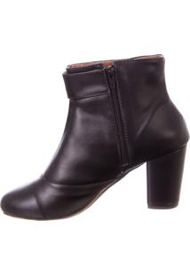 Bota Butique De Sapatos Napa Preta Cano Curto Detalhe Fivela