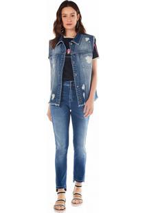 Colete Zinco Alongado Com Silk Jeans