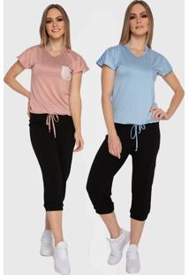Kit 2 Blusas Baby Look Carbella Modal Julia Básica Renda Casual Rosa/Azul Com Bolso
