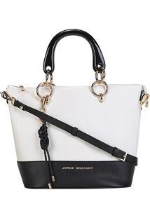Bolsa Couro Jorge Bischoff Shopper Bicolor Feminina - Feminino-Branco