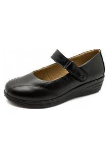 Sapato Anabela Doctor Shoes Couro 192 Preto