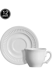 Conjunto 6 Xícaras De Chá Poppy Branco Scalla