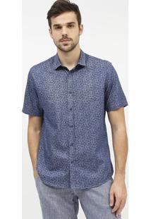 Camisa Slim Fit Abstrata - Azul Escuro & Azul Marinhoaramis