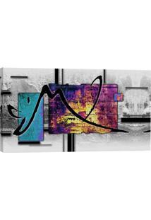 Quadro Abstrato Azul E Lilás 55X100Cm