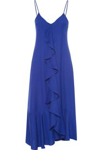 Vestido Babados Decote V - Azul