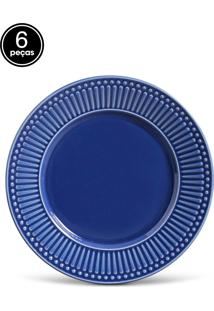 Conjunto De Pratos Rasos Porto Brasil Roma 6Pçs Azul-Marinho