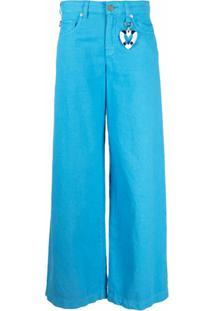 Love Moschino Calça Pantalona - Azul