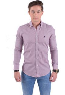 Camisa Social Horus Slim Xadrez Fucsia