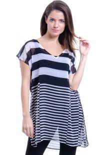 Blusa 101 Resort Wear Tunica Decote V Crepe Fendas Estampa Listrado Preta E Branca