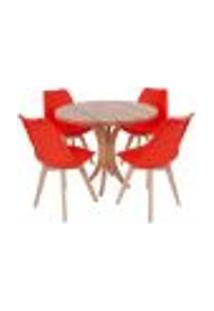 Conjunto Mesa De Jantar Tampo De Madeira 90Cm Com 4 Cadeiras Leda - Vermelho