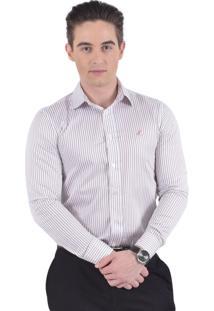 Camisa Social Listrada Horus Slim 100216 Branca