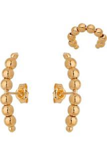 Conjunto De Brincos & Piercing Banhados À Ouro- Dourado