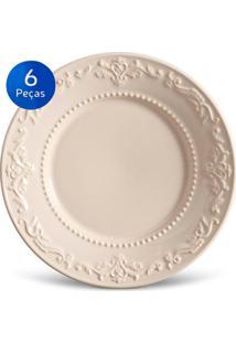 Conjunto Pratos Sobremesa Acanthus - 6 Peças - Porto Brasil - Cru