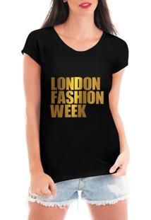 Camiseta Criativa Urbana London Fashion Week Dourada Preto