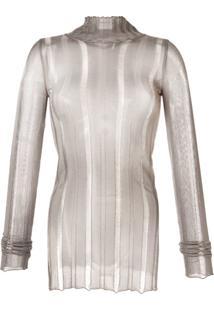 Yang Li Blusa Translúcida De Tricô Com Efeito Destroyed - Cinza