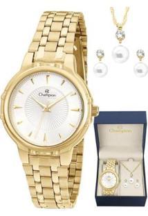 Kit Relógio Champion Elegance + Semi Joia Feminino - Feminino-Dourado