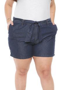 Short Jeans Plus Size Da Cambos Azul - Azul - Feminino - Dafiti
