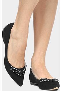 Sapatilha Couro Shoestock Pedraria Feminina - Feminino-Preto