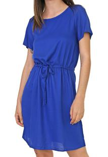 Vestido Enfim Curto Amarração Azul