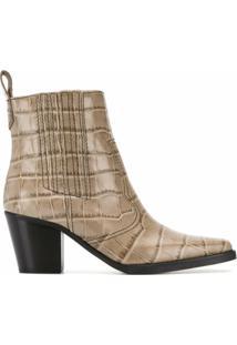 Ganni Ankle Boot Com Efeito De Pele De Crocodilo - Marrom