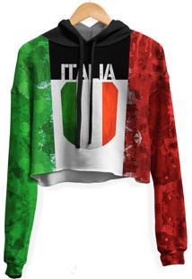 Blusa Cropped Moletom Feminina Over Fame Italia Md01 - Tricae