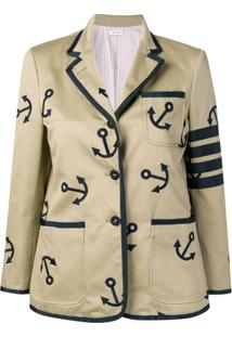 Thom Browne 4-Bar Anchor Embroidery Sack Jacket - Neutro