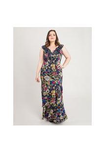 Vestido Almaria Plus Size Pianeta Longo Estampado Azul Marinho.
