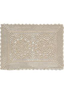 Jogo Americano Retangular De Algodão Crochet Copa Natural 45X30Cm - 18421