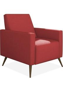 Poltrona Decorativa Para Sala De Estar Pés Palito Liz Suede Vermelho - Lyam Decor