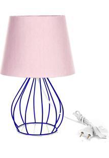 Abajur Cebola Dome Rosa Com Aramado Azul