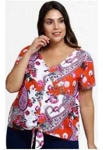 Blusa Feminina Estampa Paisley Plus Size