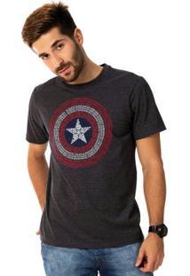 Camiseta Estampa Centralizada Cinza Marvel