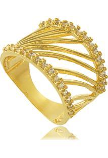 Anel Vazado Com Duas Fileiras De Zircônias Cravejadas 3Rs Semijoias Dourado