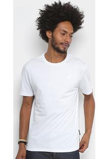 Camiseta Cavalera Básica Bordado Masculina - Masculino-Branco