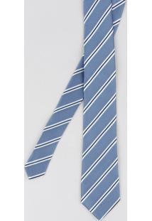 Gravata Masculina Listrada Em Jacquard Azul - Único