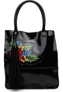 Bolsa Alice Monteiro Sacola Com Bordado Floral Grande Franja Preto Verniz