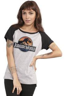 Camiseta Bandup Raglan Jurassic World Logo - Feminino-Cinza+Preto