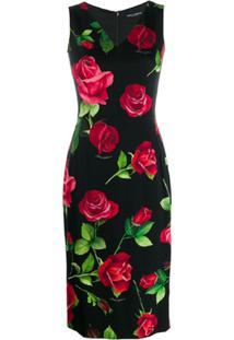 Dolce & Gabbana Rose Print Midi Dress - Preto