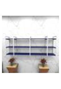 Estante Estilo Industrial Sala Aço Cor Branco 180X30X68Cm (C)X(L)X(A) Cor Mdf Azul Modelo Ind34Azsl
