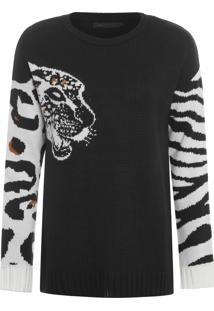 Blusa Feminina Tricot Tigre - Preto
