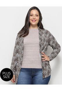 Cardigan Blomma Animal Print Onça Plus Size Feminino - Feminino-Estampado