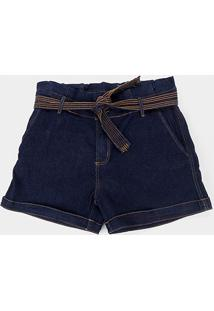 Shorts Jeans Naiff Plus Size Amarração Feminino - Feminino-Azul
