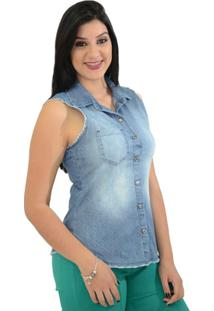 Camisa Moché Jeans Poá - Feminino-Jeans
