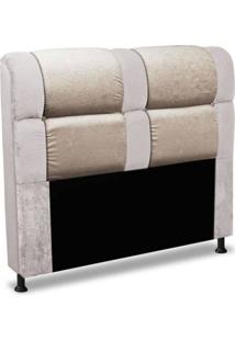 Cabeceira De Casal 140Cm Para Cama Box Colombia Suede Animale Marfim/Camurça - Ds Móveis