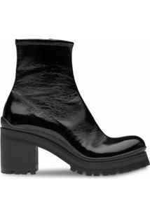 Miu Miu Ankle Boot Com Salto Bloco - Preto